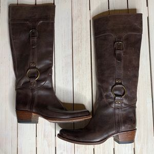FRYE | Tall Elizabeth O Rings Brown Leather Boots